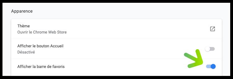 Affiche de nouveau tes favoris sur Chrome