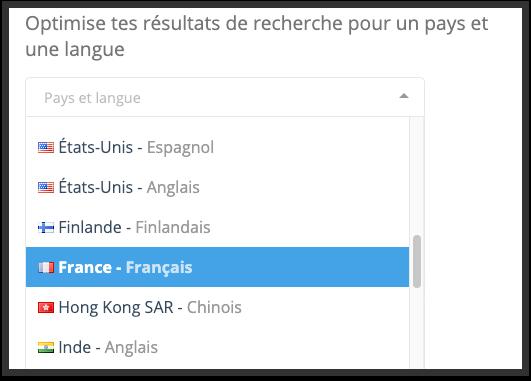Optimise nos résultats de recherche pour ton pays et ta langue